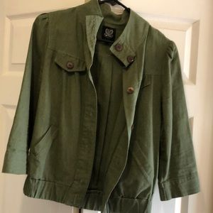 Army green linen jacket with buttons